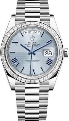 Rolex Day-Date 40mm Platinum 228396TBR Ice Blue Quadrant Roman