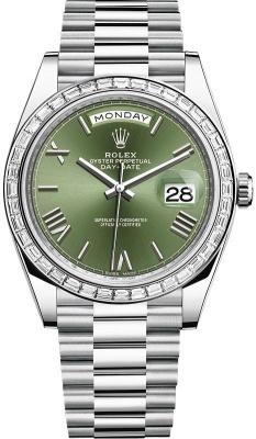 Rolex Day-Date 40mm Platinum 228396TBR Olive Green Roman