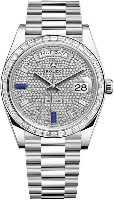 Rolex Day-Date 40mm Platinum 228396TBR Pave Baguette Sapphire