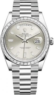 Rolex Day-Date 40mm Platinum 228396TBR Silver Baguette