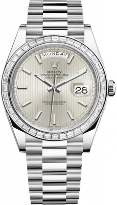 Rolex Day-Date 40mm Platinum 228396TBR Silver Stripe Index