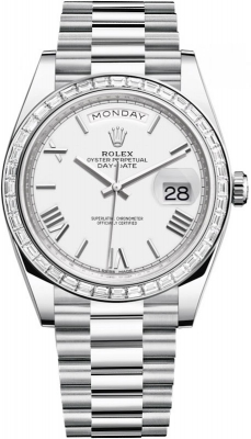Rolex Day-Date 40mm Platinum 228396TBR White Roman