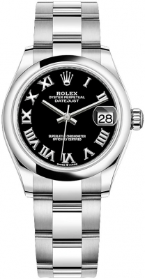 Rolex Datejust 31mm Stainless Steel 278240 Black Roman Oyster