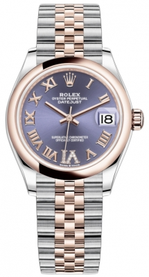 Rolex Datejust 31mm Stainless Steel and Rose Gold 278241 Aubergine Roman VI Jubilee