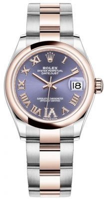Rolex Datejust 31mm Stainless Steel and Rose Gold 278241 Aubergine Roman VI Oyster