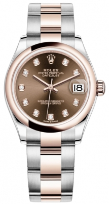 Rolex Datejust 31mm Stainless Steel and Rose Gold 278241 Chocolate Diamond Oyster