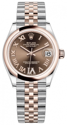 Rolex Datejust 31mm Stainless Steel and Rose Gold 278241 Chocolate Roman VI Jubilee