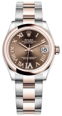 Rolex Datejust 31mm Stainless Steel and Rose Gold 278241 Chocolate Roman VI Oyster
