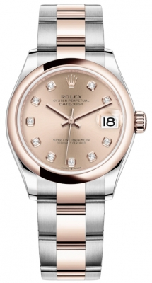Rolex Datejust 31mm Stainless Steel and Rose Gold 278241 Gold Diamond Oyster