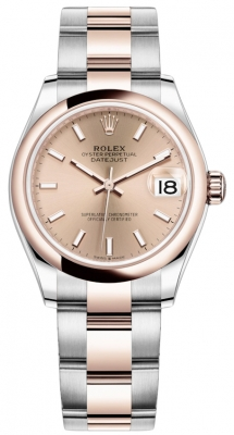 Rolex Datejust 31mm Stainless Steel and Rose Gold 278241 Gold Index Oyster