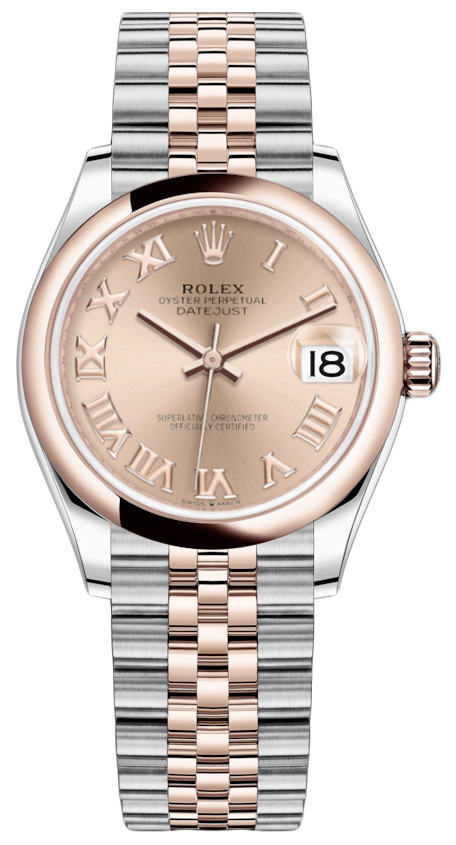 Rolex Datejust 31mm Stainless Steel and Rose Gold 278241 Gold Roman Jubilee