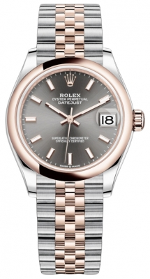 Rolex Datejust 31mm Stainless Steel and Rose Gold 278241 Rhodium Index Jubilee