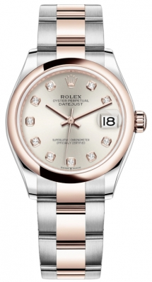 Rolex Datejust 31mm Stainless Steel and Rose Gold 278241 Silver Diamond Oyster