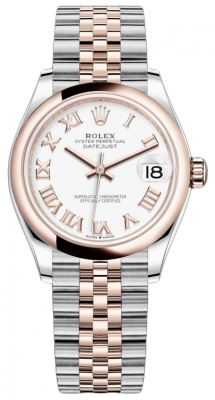 Rolex Datejust 31mm Stainless Steel and Rose Gold 278241 White Roman Jubilee