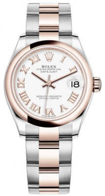 Rolex Datejust 31mm Stainless Steel and Rose Gold 278241 White Roman Oyster