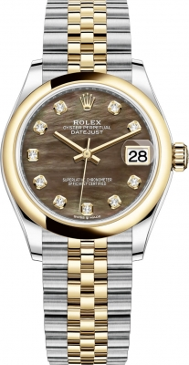 Rolex Datejust 31mm Stainless Steel and Yellow Gold 278243 Black MOP Diamond Jubilee
