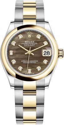 Rolex Datejust 31mm Stainless Steel and Yellow Gold 278243 Black MOP Diamond Oyster