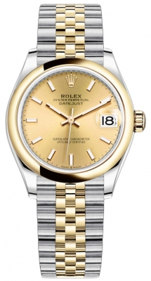 Rolex Datejust 31mm Stainless Steel and Yellow Gold 278243 Champagne Index Jubilee