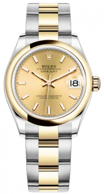 Rolex Datejust 31mm Stainless Steel and Yellow Gold 278243 Champagne Index Oyster