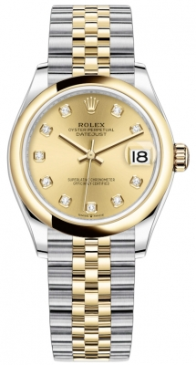 Rolex Datejust 31mm Stainless Steel and Yellow Gold 278243 Champagne Diamond Jubilee