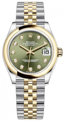 Rolex Datejust 31mm Stainless Steel and Yellow Gold 278243 Green Diamond Jubilee