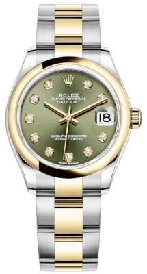 Rolex Datejust 31mm Stainless Steel and Yellow Gold 278243 Green Diamond Oyster