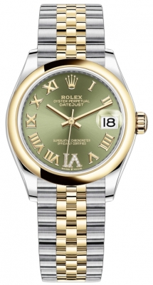 Rolex Datejust 31mm Stainless Steel and Yellow Gold 278243 Green VI Roman Jubilee