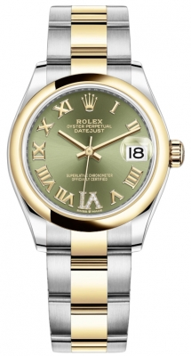 Rolex Datejust 31mm Stainless Steel and Yellow Gold 278243 Green VI Roman Oyster