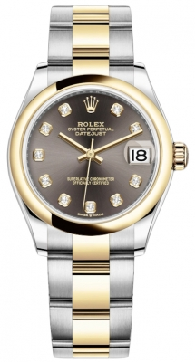 Rolex Datejust 31mm Stainless Steel and Yellow Gold 278243 Grey Diamond Oyster