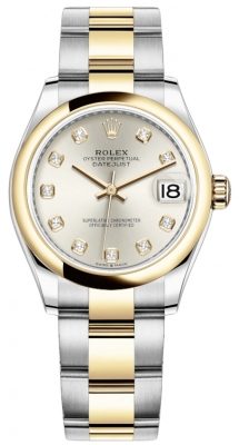 Rolex Datejust 31mm Stainless Steel and Yellow Gold 278243 Silver Diamond Oyster