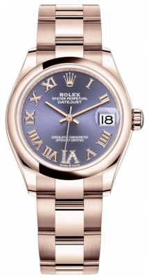 Rolex Datejust 31mm Everose Gold 278245 Aubergine VI Roman Oyster