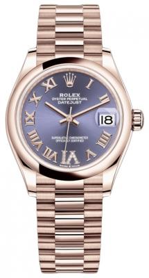 Rolex Datejust 31mm Everose Gold 278245 Aubergine VI Roman President