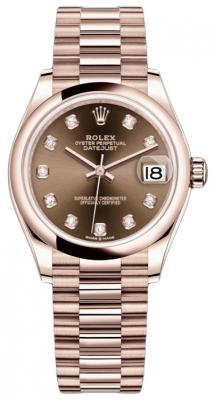 Rolex Datejust 31mm Everose Gold 278245 Chocolate Diamond President