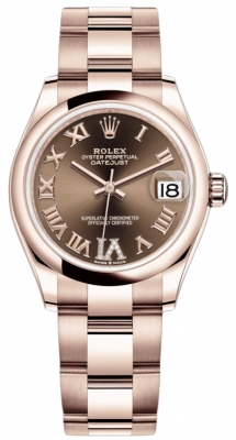 Rolex Datejust 31mm Everose Gold 278245 Chocolate VI Roman Oyster