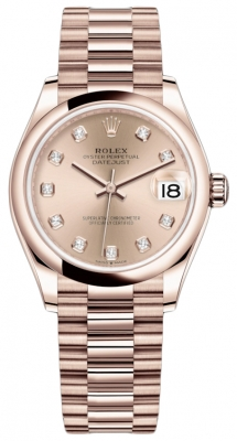 Rolex Datejust 31mm Everose Gold 278245 Gold Diamond President