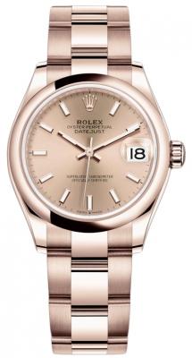 Rolex Datejust 31mm Everose Gold 278245 Gold Index Oyster