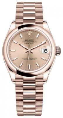 Rolex Datejust 31mm Everose Gold 278245 Gold Index President