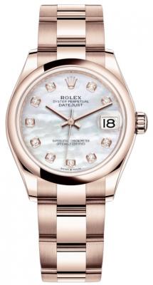 Rolex Datejust 31mm Everose Gold 278245 MOP Diamond Oyster