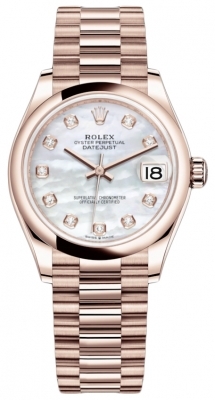 Rolex Datejust 31mm Everose Gold 278245 MOP Diamond President