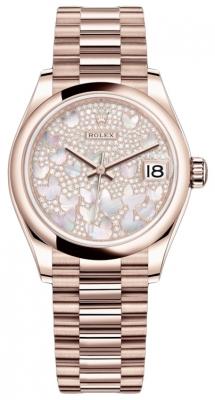 Rolex Datejust 31mm Everose Gold 278245 Diamond Paved President