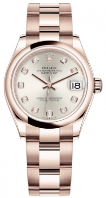 Rolex Datejust 31mm Everose Gold 278245 Silver Diamond Oyster