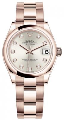 Rolex Datejust 31mm Everose Gold 278245 Silver Diamond Oyster