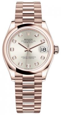 Rolex Datejust 31mm Everose Gold 278245 Silver Diamond President