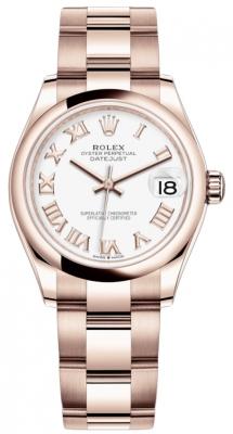 Rolex Datejust 31mm Everose Gold 278245 White Roman Oyster