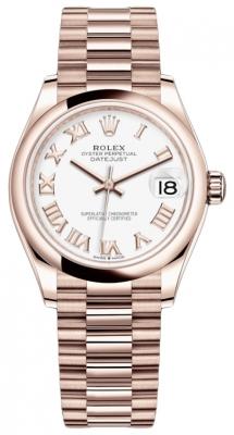 Rolex Datejust 31mm Everose Gold 278245 White Roman President
