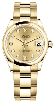 Rolex Datejust 31mm Yellow Gold 278248 Champagne Diamond Oyster
