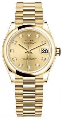 Rolex Datejust 31mm Yellow Gold 278248 Champagne Diamond President