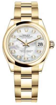 Rolex Datejust 31mm Yellow Gold 278248 MOP Diamond Oyster