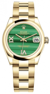 Rolex Datejust 31mm Yellow Gold 278248 Malachite Diamond Oyster