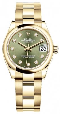 Rolex Datejust 31mm Yellow Gold 278248 Olive Green Diamond Oyster